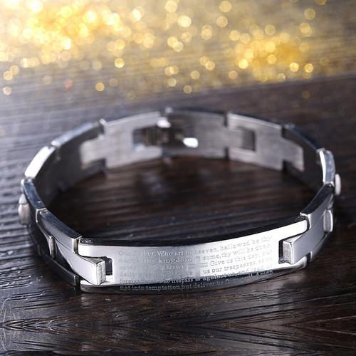 Christian Religious Spanish Prayer Jesus Silver Stainless Steel Unisex Bracelet
