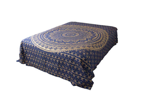 Hippie Blue Golden Ombre Mandala Tapestry Bohemian Wall Hanging Throw Dorm