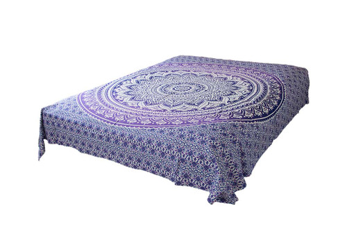 Purple White Ombre Mandala Tapestry Bohemian Wall Hanging Throw Dorm Decor