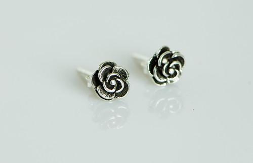 AamiraA 925 Sterling Silver Rose Antique Look Stud Earrings