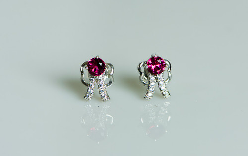 925 Sterling Silver Stunning Pink Bow Stud Earrings