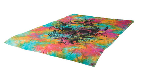 Tie-Dye Skeleton Mandala Tapestry Bohemian Wall Hanging Throw Decor