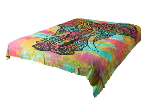 Hippie Black Elephant Mandala Tapestry Bohemian Wall Hanging Throw Dorm Decor