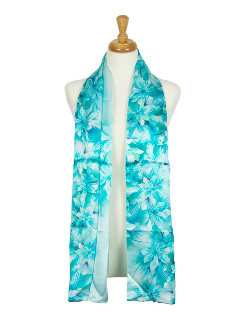 AamiraA Blue Floral Soft Mulberry Satin Silk Stole Women Long Scarf