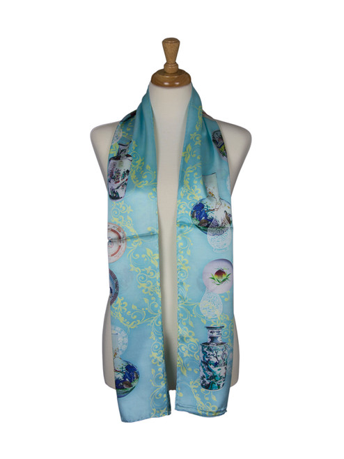 AamiraA Vintage Dishware Soft Mulberry Satin Silk Stole Women Long Scarf