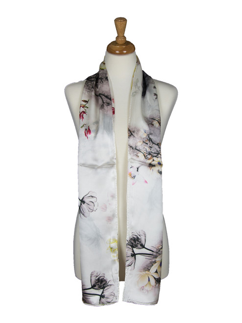 Anemone Flowers Soft Mulberry Satin Silk Stole Women Long Scarf