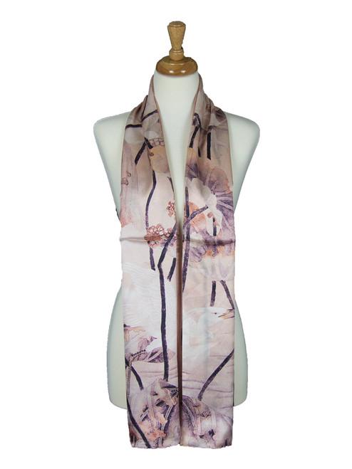 AamiraA Cream Gladiolus Flower Soft Mulberry Satin Silk Stole Women Long Scarf