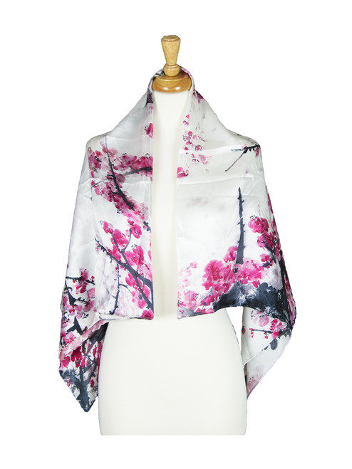 AamiraA Pink Floral Mulberry Satin Silk Stole Women Square Scarf