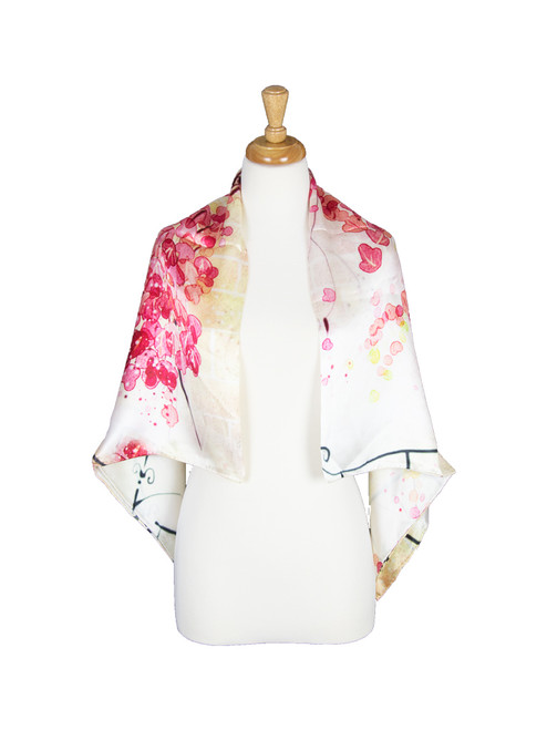 AamiraA Floral Water Mulberry Satin Silk Spring Women Square Scarf