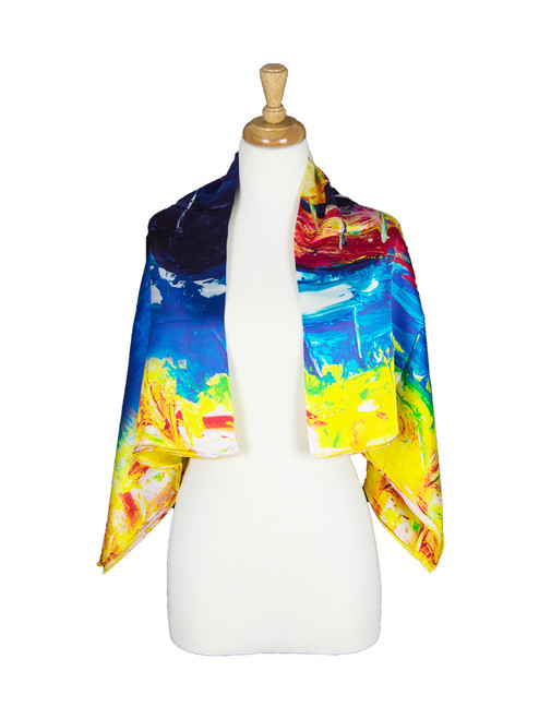 AamiraA Abstract Scenic Mulberry Silk Stole Women Square Scarf