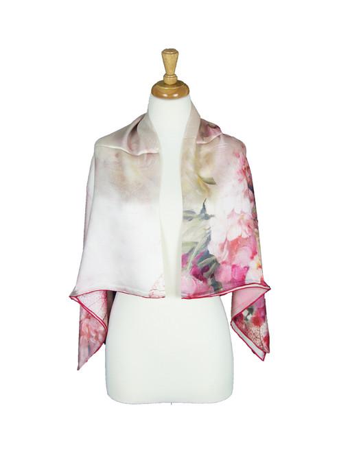 AamiraA Elegant Floret Mulberry Satin Silk Stole Women Square Scarf