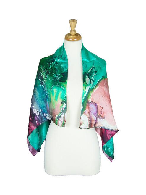 AamiraA Abstract Magic Mulberry Satin Silk Stole Women Square Scarf