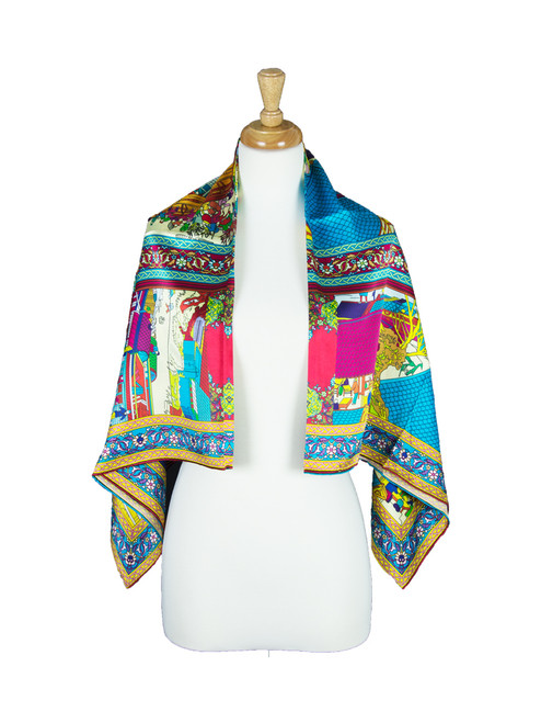 AamiraA Town Center Mulberry Satin Silk Stole Women Square Scarf