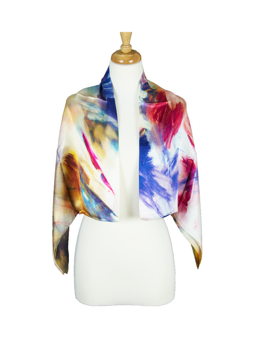 AamiraA Abstract Mulberry Satin Silk Stole Women Square Scarf