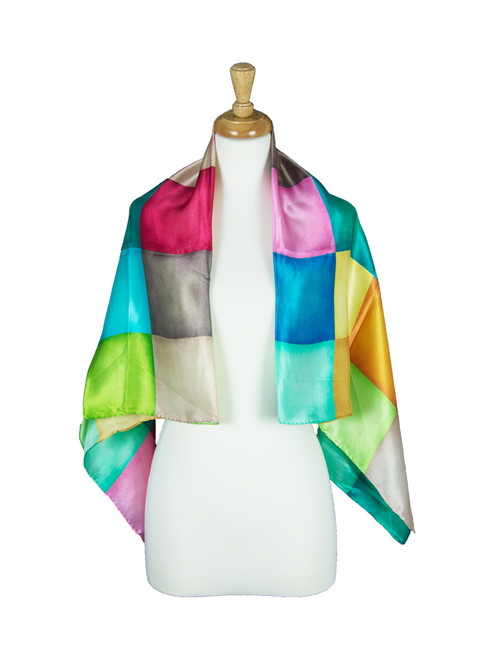 AamiraA Squares Mulberry Satin Silk Stole Women Square Scarf