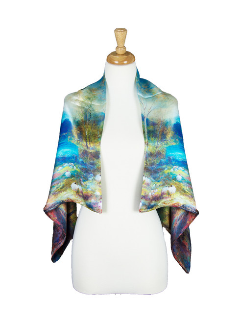 AamiraA Autumn Mulberry Satin Silk Stole Women Square Scarf