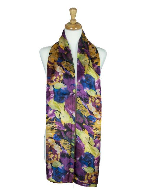 AamiraA Floral Soft Mulberry Chiffon Silk Stole Women Oblong Scarf