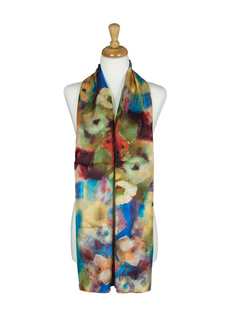 AamiraA Floral Orange Mulberry Chiffon Silk Stole Women Oblong Scarf