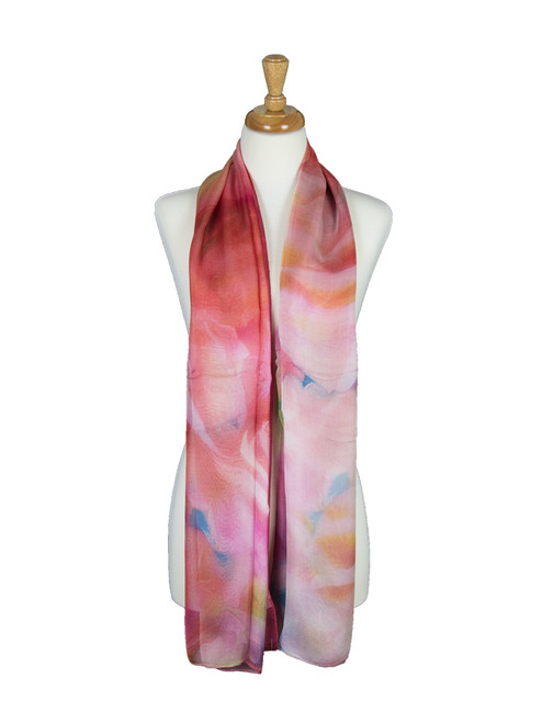 AamiraA Abstract Flowers Mulberry Chiffon Silk Stole Women Scarf