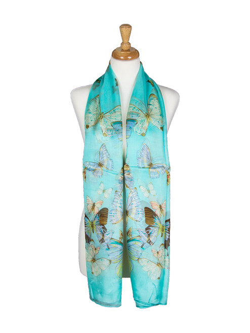 AamiraA Blue Butterfly Mulberry Chiffon Silk Stole Women Scarf