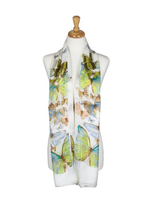 AamiraA White Butterfly Mulberry Chiffon Silk Stole Women Scarf