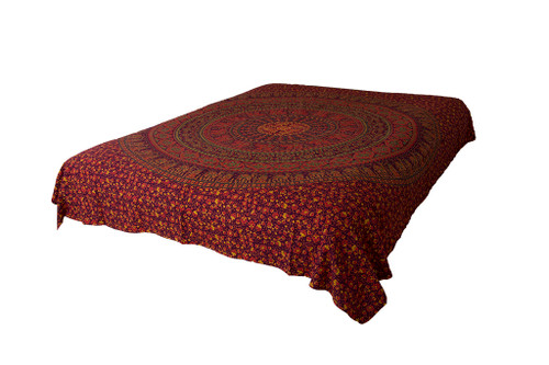 Queen Maroon Mandala Tapestry Bohemian Wall Hanging Throw Dorm Decor