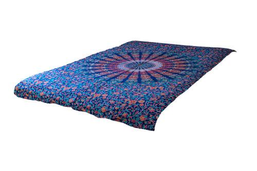 Blue Psychedelic Tapestry Mandala  Bohemian Wall Hanging Throw Dorm Decor