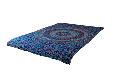 Navy Blue Mandala Tapestry Bohemian Wall Hanging Throw Dorm Decor