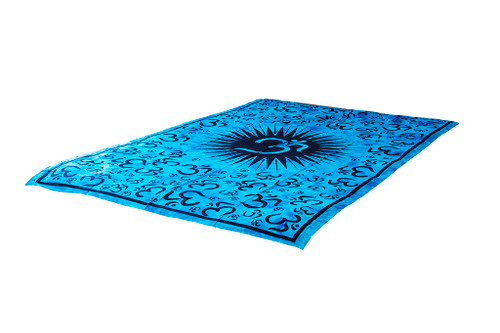 Blue Om Mandala Tapestry Bohemian Wall Hanging Throw Dorm Decor