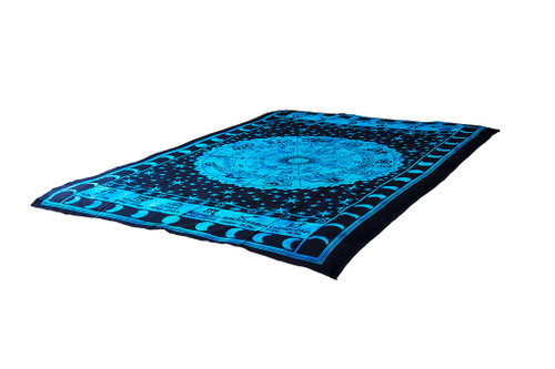 Blue Sun Sign Mandala Tapestry Bohemian Wall Hanging Throw Dorm Decor