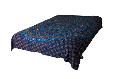 Blue Flower Mandala Tapestry Bohemian Wall Hanging Throw Dorm Decor