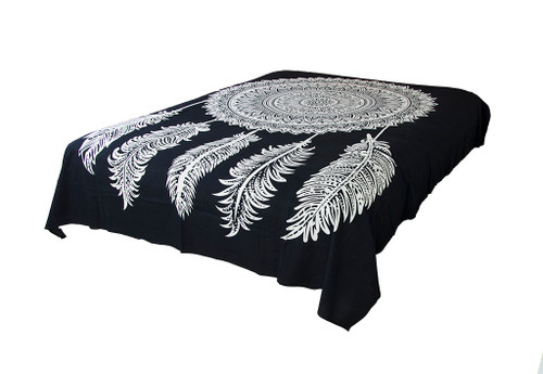 Queen Black Dream Catcher Mandala Tapestry Bohemian Wall Hanging Throw Dorm Decor
