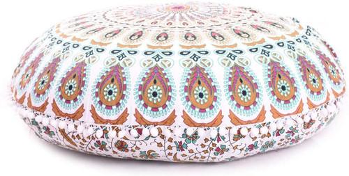 Blue Brown Mandala Pillow Ottoman Poufs Cushion Covers