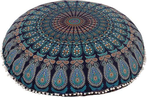 Green Brown Mandala Pillow Ottoman Poufs Cushion Covers