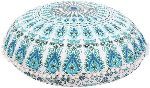 Blue Green Mandala Pillow Ottoman Poufs Cushion Covers