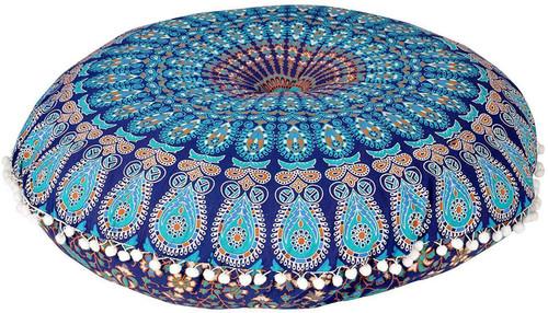 Blue Mustard Mandala Pillow Ottoman Poufs Cushion Covers