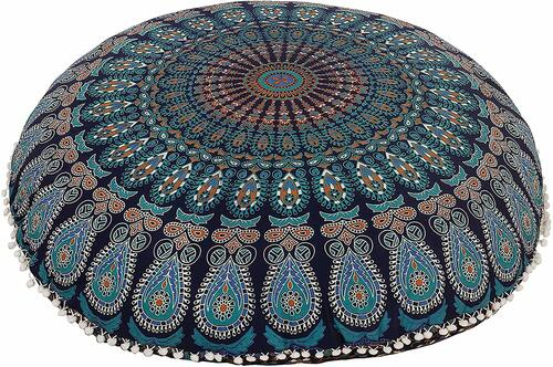 Mustard Blue Mandala Pillow Ottoman Poufs Cushion Covers