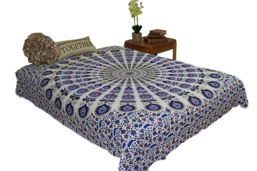 Hippie Mustard Blue Mandala Tapestry Bohemian Wall Hanging Throw Dorm Decor