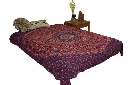 Hippie Orange Grey Mandala Tapestry Bohemian Wall Hanging Throw Dorm Decor