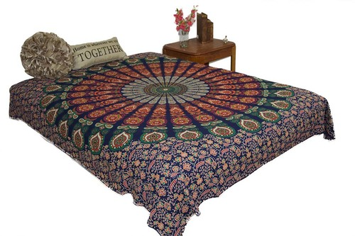 Hippie Emerald Mandala Tapestry Bohemian Wall Hanging Throw Dorm Decor