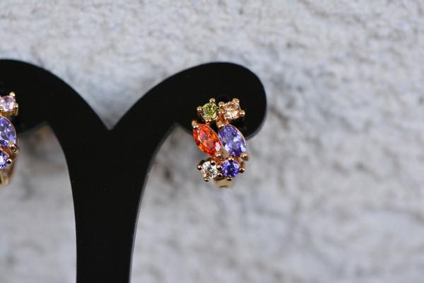 18K Gold Multicolor Zircon AAA Designer Brass Earrings