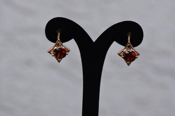 18K Gold Fashion Red Zircon AAA Round Brass Earrings