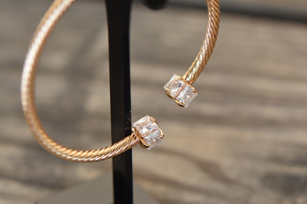 18K Gold Open Cuff Stylish Zircon AAA Designer Women Brass Bracelet