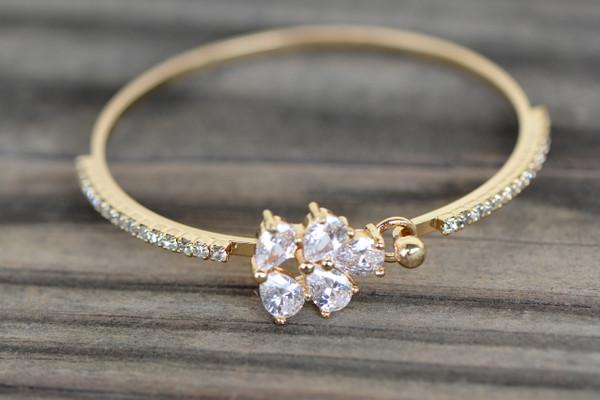 18K Gold White Leaf Lock Zircon AAA Designer Women Brass Bracelet