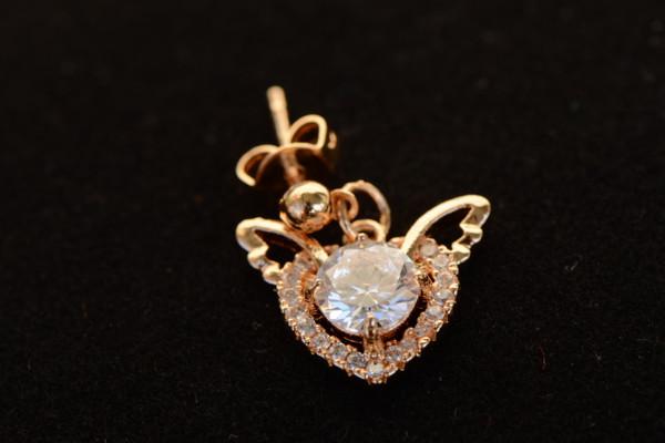 18K Gold Dazzling Heart Zircon AAA Designer Women Brass Set