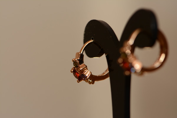 18K Gold Round Zircon AAA Designer Brass Earrings