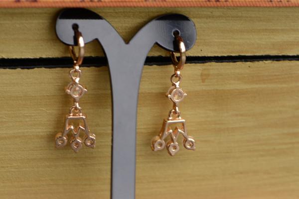 18K Gold Crown Zircon AAA Designer Dangle Brass Earrings