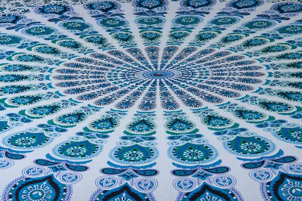 Blue Psychedelic Mandala Tapestry Bohemian Wall Hanging Throw Dorm Decor