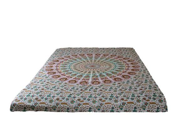 White Psychedelic Mandala Tapestry Bohemian Wall Hanging Throw Dorm Decor