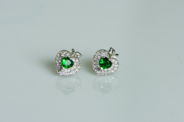 925 Sterling Silver Green Apple Stud Earrings